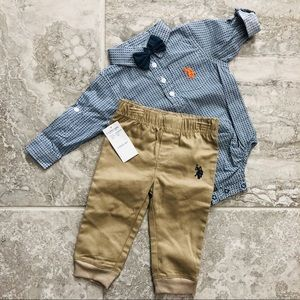 🆕✨U.S. Polo Assn. Blue & Khaki 2-Piece Outfit